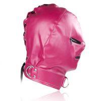 Маска кожаная розовая с молниями Zipper для БДСМ