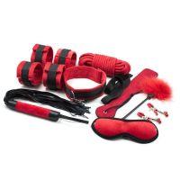 Набор для БДСМ черно-красный из 9 предметов