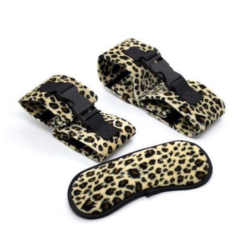 Черные бандажные наручники и повязка для глаз с леопардовым принтом