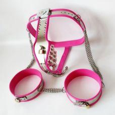 Пояс верности для женщин с наручниками розовый