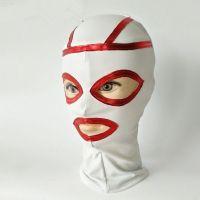 Бело-красная латексная маска на глаза с прорезами для БДСМ