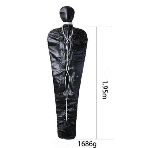 Кожаный черный мешок для мумификации в БДСМ