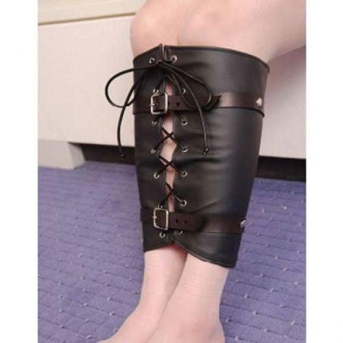 Кожаный черный корсет для связывания ног в БДСМ-играх