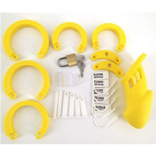 Пояс верности на пенис силиконовый с кольцами желтый