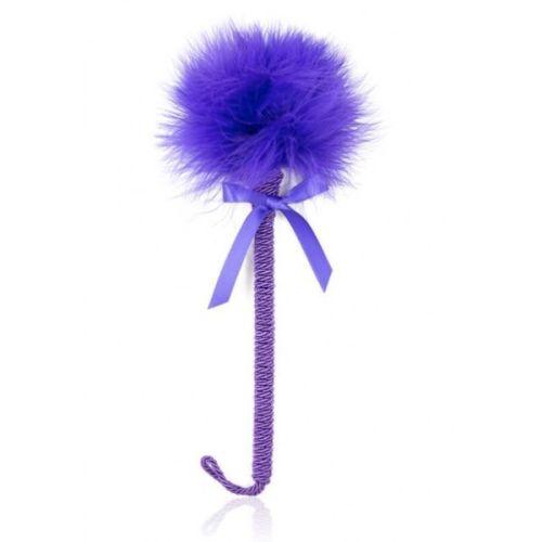 Перьевая щекоталка для игр синяя 25 см