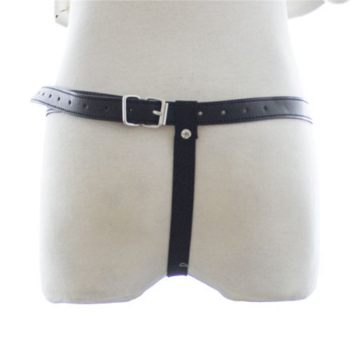 Женские кожаные стринги со шнуровкой для БДСМ черные