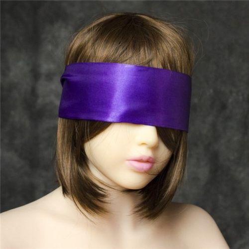 Широкая фиолетовая атласная лента на глаза для БДСМ