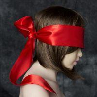 Широкая красная атласная лента на глаза для БДСМ-игр