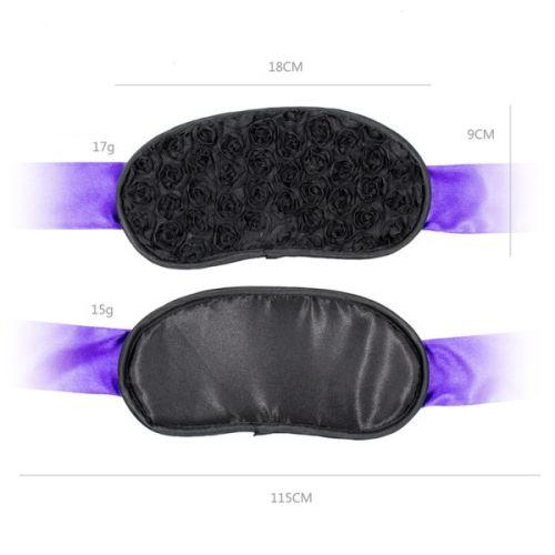 Нежная черная маска с фиолетовыми лентами для БДСМ