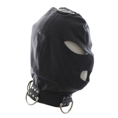 Маска-шлем из эко-кожи со шнуровкой и кольцом для подвешивания в БДСМ черная