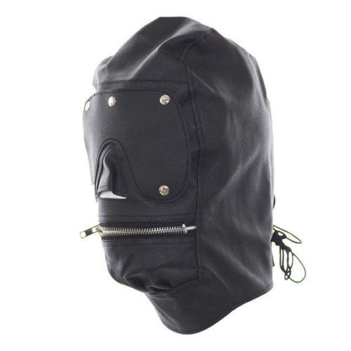 БДСМ-маска черная с молнией для открытия рта
