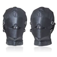 Маска черная кожаная со съемными кляпами глаз и рта для БДСМ-игр