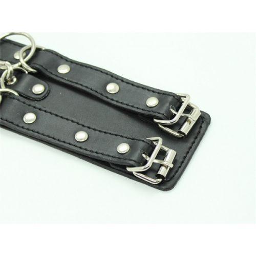 Кожаные черные наручники для секса БДСМ PL11042