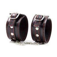 Кожаные черные наручники для БДСМ-фиксации