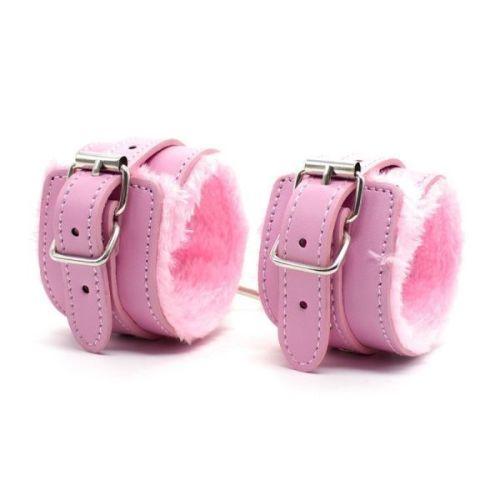Гламурные розовые наручники с мехом