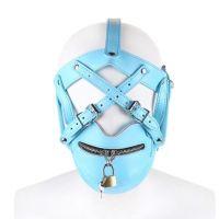 Голубая маска для БДСМ Muzzle Zipper Mouth