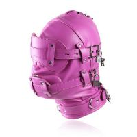 Маска кожаная розовая закрытая с замками