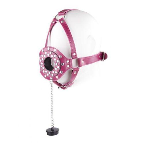 Намордник кожаный с отверстием на рот для БДСМ розовая