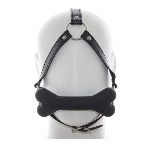 Кляп черный на ремнях с косточкой для БДСМ