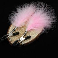 Зажимы для сосков с розовыми перьями