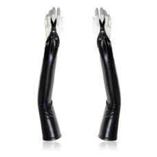 Черные виниловые перчатки с открытыми пальцами