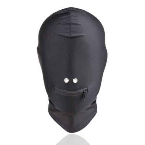 Маска закрытая черная с отверстием для рта на молнии БДСМ