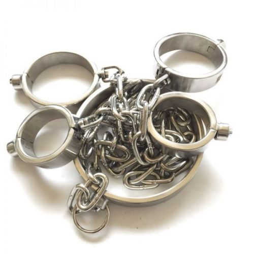 Stainless Steel Handy Handcuffs Hand and Foot Neck Has Metal Chain - Man