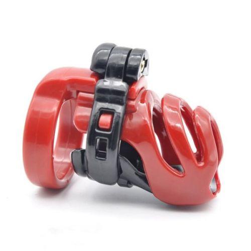 Пояс верности на член с 4 кольцами для БДСМ черно-красный