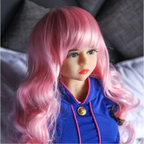 Реалистичная секс-кукла силиконовая с розовыми волосами 105 см NO.A02