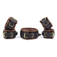 Кожаные фиксаторы-оковы для для рук, шеи и ног для БДСМ