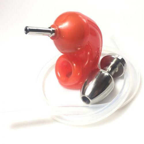 Пояс верности мужской с уринальной системой в анальную пробку ATOMIC JOCK красного цвета