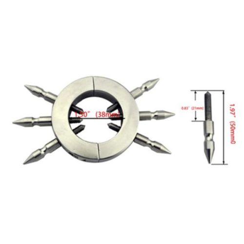 Круглый металлический фиксатор на яички с 6 съемными шипами из стали для БДСМ