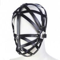 Ременная маска на лицо из кожи черная для БДСМ