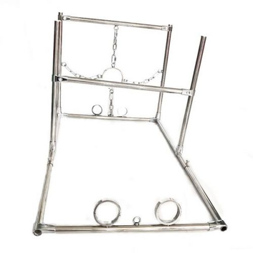 Male Stainless steel Shackles Hand Ankle Neck Fixed Shelf
