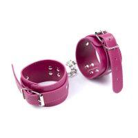Розовые кожаные наножники для БДСМ-игр
