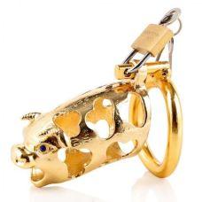 Металлическое устройство целомудрия для мужчин с золотой головой быка