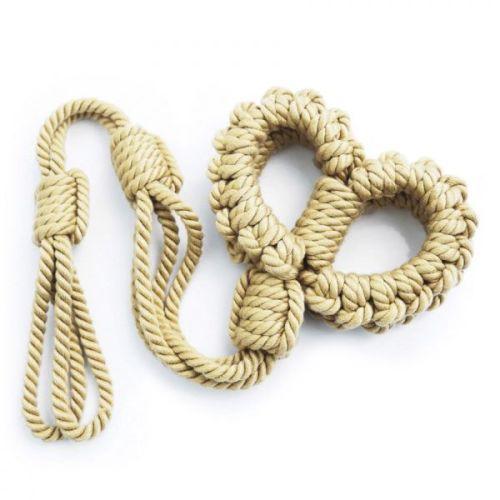 Наручники из плетеной веревки Желтый для БДСМ