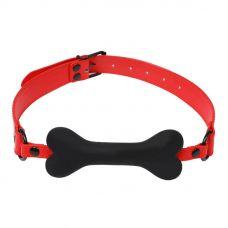Кляп для БДСМ с силиконовой косточкой красный JSY