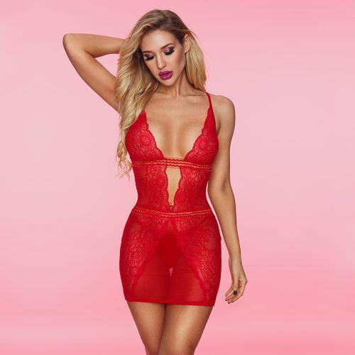 Сорочка эротическая красная со стрингами S