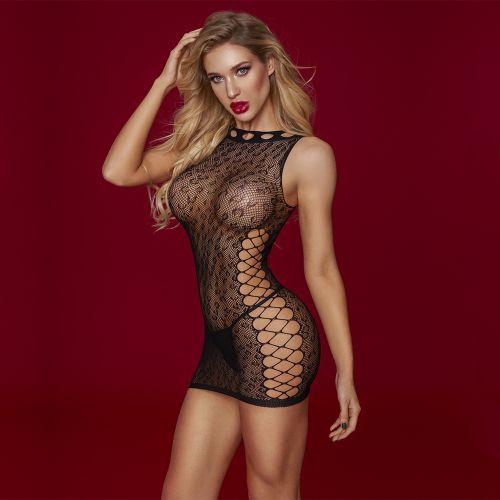 Платье чёрное облегающее в сетку S/L