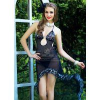 Черная сетчатая сорочка-платье Темный Леопард S/M JSY