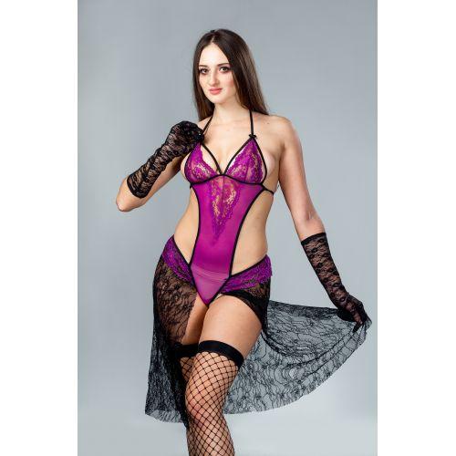 Сексуальное боди фиолетовый с кружевом и юбкой S/M JSY