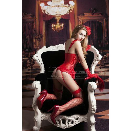 Эротический комплект-корсет красный вышит золотой нитью S/M JSY