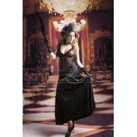 Черное  длинное платье Ретро красавица S/M JSY