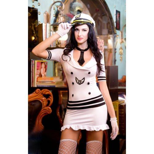 Белый эротичнский костюм секси морячки S/M JSY