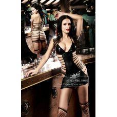 Платье виниловое Опасная Красотка со шнуровкой S/M JSY