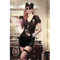 Эротический виниловый костюм для секса Арестуй Меня Строгий Полицейский JSY S/M черного цвета