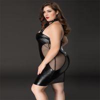 Эротическое черное платье с прозрачными вставками XL/XXL