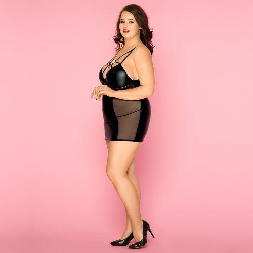 Платье виниловое черное с сеткой L/XL