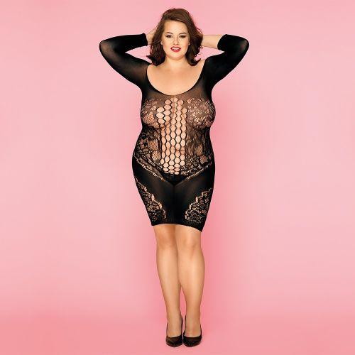 Сексуальное чёрное женское платье сетка для соблазна L/XXL